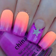 Discover new and inspirational nail art for your short nail designs. Gradient Nails, Neon Nails, Love Nails, Diy Nails, How To Do Nails, Star Nails, Orange Nail Art, Neon Orange Nails, Purple Nails