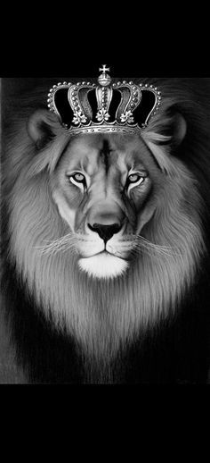 Leo Lion Head with Crown | Lion Tattoo - I found a lion and crown that I liked. Done a bit if ...