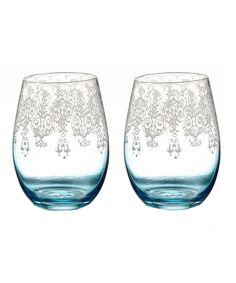 Loving this Blue Lace Stemless Wineglass - Set of Two on #zulily! #zulilyfinds