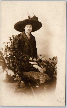 1910s RPPC Photo Postcard Young Woman Black Fur Coat & Large Hat Studio Portrait