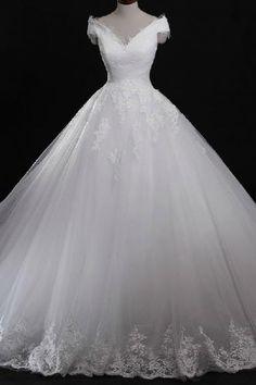 Formal Applique Cap Sleeve Long Ball Gown Lace Bridal Wedding Dresses Formal Floor Length ll351