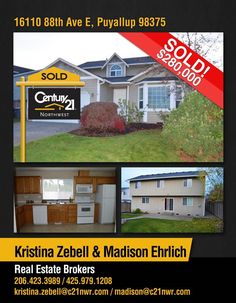 Congratulations Kristina Zebell and Madison Ehrlich on your SOLD Listing in Puyallup!! Great job !!  Smarter, Bolder, Faster transactions! Just contact Kristina, Madison or our Kirkland office @ 425-250-3301.   MLS# 1049856 http://1611088thavee.c21.com/