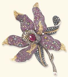 A DIAMOND, PINK SAPPHIRE AND TOURMALINE BROOCH  Designed as a pavé-set yellow…