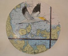 Gannet over Rangitoto by Justine Hawksworth $385 20 x 20cm round Acrylic pencil on board Art Maori, Map Art, New Zealand, Pencil, Paintings, Board, Artwork, Prints, Animaux
