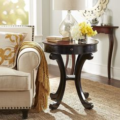 Pier 1 Imports Marchella Accent Table ($250) ❤ liked on Polyvore featuring home, furniture, tables, accent tables, black accent table, drawer table, brown furniture, black table and drawer furniture