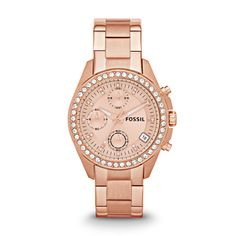 Decker Chronograph Rose-Tone Stainless Steel Watch   FOSSIL- Engravable. $89