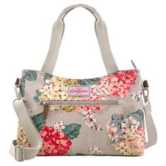 Hydrangea Mini Zipped Handbag with otton grab handles large enough to be worn over the shoulder - 33 x 20 x 9 cm