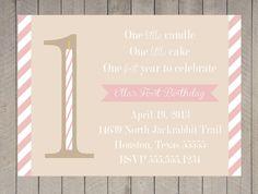 1st First Birthday Invitation Girl Pink Kraft One Little Candle Vintage Stripe Printable Digital. $16.00, via Etsy.