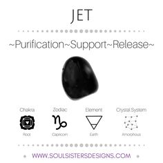 Metaphysical Healing Properties of Jet, including associated Chakra, Zodiac and Element, along with Crystal System/Lattice to assist you in setting up a Crystal Grid. Go to https://www.soulsistersdesigns.com/jet to learn more!