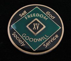 NA Black Gold Coin 14 Year Tri-Plate Narcotics Anonymous Medallion Out of Ashes
