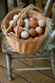 My one regret is that I left this lovely set of chairs on my porch all winter: now the great vintage paint is flaking off! The assorted eggs are from my assorted chickens on our Kentucky farm. © Catherine Seiberling Pond, author of THE PANTRY-ITs HISTORY and MODERN USES [Gibbs Smith: 2007], available exclusively from www.CatherinePond.com [$10, hardbound, beautifully illustrated with 100 images of past and present pantries, and signed by the author]