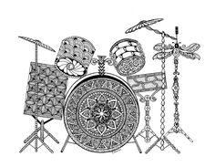 Drumset Zentangle Art Drawings Pen and Ink by InkyFingersCustomArt