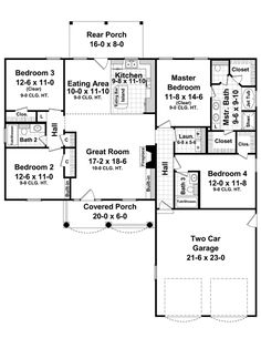 House Plans, Home Plans and floor plans from Ultimate Plans. This is pretty much perfect, but switch the great room with the kitchen.