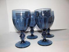 Four (4) DURATUFF Girbraltar Dusky Blue Water Goblet Glass Stemmed, 12 oz