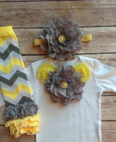 Baby Girl Grey Yellow Baby Girl Leg Warmer by AvaMadisonBoutique, $38.95