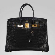 35cm Hermes Birkin Bag Black Matte Alligator Gold Hardware!