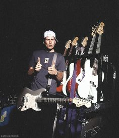 Tom Delonge with his Signature Fender Stratocaster. He's more of a Gibson guy nowadays.