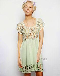 Crochetemoda: Vestido com Crochet