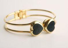 Elegant Gold Plated Black Heart Bracelet from Netaly Shany Jewelry & Accessories by DaWanda.com