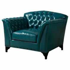 "Diamond-tufted leather arm chair with hand-applied nailhead trim. Product: ChairConstruction Material: Wood and top grain leatherColor: Dark turquoiseFeatures: Hand-applied copper nailhead trimEight-way hand-tied spring suspensionDeep seat for extra comfort Dimensions: 35.83"" H x 47"" W x 41.93"" D"