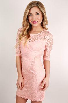 London Callin' Lace Dress in Peach