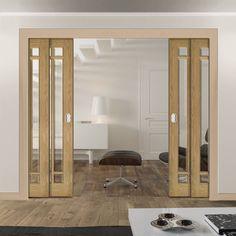 Deanta Quad Telescopic Pocket Kerry Oak Veneer Doors - Bevelled Clear Safety Glass - Unfinished.    #moderndoors  #pocketdoors  #telescopicdoors