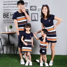 New Item South Korea's mother and Children Summer Cotton stripe mosaic mother daughter family T-shirt Summer Fashion Outfits, Kids Outfits, Kids Fashion, Family Shirts, Boys T Shirts, Family Clothing Sets, South Korea Fashion, Matching Couple Outfits, Look Girl