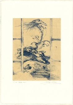 版画アマビエ特別頒布プロジェクト 2020  齋藤悠紀 Yuki SAITO 千重波ーアマビエー  銅版画/和紙に雁皮刷り 18×14cm ed 60 2020 Yuki Saito, Vintage World Maps, Japan, Projects, Prints, Log Projects, Blue Prints, Japanese