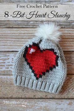 FREE Crochet Pattern: Crochet Heart Slouchy A little bit of Valentine's Day, a little bit of geek, this cute heart hat is fun for all. Bonnet Crochet, Crochet Beanie, Cute Crochet, Crochet Crafts, Crochet Yarn, Yarn Crafts, Crochet Projects, Knitted Hats, 8 Bit Crochet