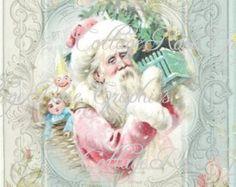 Rosa Shabby Retro Santa grande descargar por CottageRoseGraphics