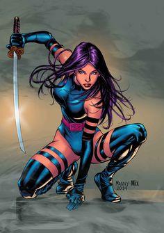 Psylocke by Manny Clark. Colors by Michele Nogueira. #XMen #Mutants | X-men, Comics, Marvel