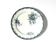 French Vintage blue and white plate ironstone staffordshire flow blue delph blue blue willow floral with birds