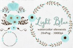 Light Blue-Watercolor Elements by Lizamperini on Creative Market