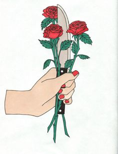 Image result for hand holding knife and flower illustration