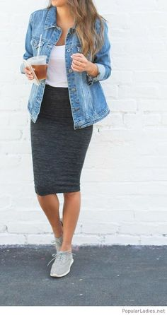long-grey-skirt-white-tee-and-blue-denim-jacket