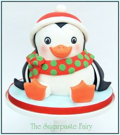Christmas penguin  Cake by SugarpasteFairy