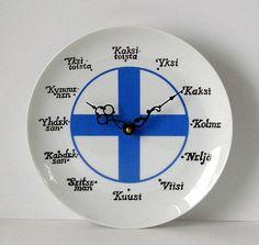 Vintage  Finnish Flag Ceramic  PLATE CLOCK by TheTimelyEmporium, $40.00 WAAAAAAAAAAAAAAAAAAAAAAAAANT!