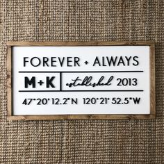Forever Always GPS | Customizable | Handcrafted Sign