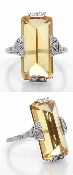 A Belle Epoque platinum, citrine and diamond ring, circa 1910. #BelleÉpoque #ring