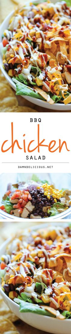 BBQ Chicken Salad - This healthy, flavorful salad comes together so quickly, and…
