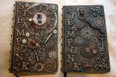 Steampunk journals I've made using plain composition notebooks as the base.