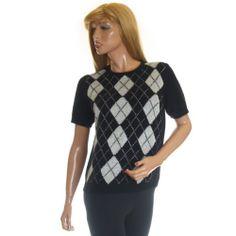 37% Angora Rafaella Sweater Silver Metallic Argyle Fuzzy Fluffy Short Sleeve M