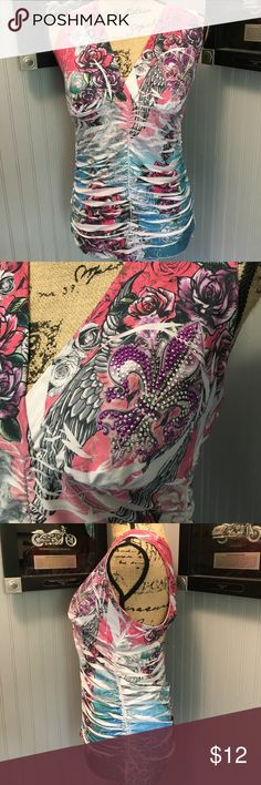 """Yo Yo 5 Ladies Top EUC. A beautiful sleeveless Top. The back is the main attraction on this top. Touching for figure flattering. Vibrant colors. A little bling on the front. Length 23"""" Yo Yo 5 Tops Tank Tops"""