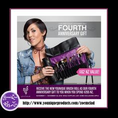 CUSTOMER KUDOSNovember 1 - November 30, 2016 FOURTH ANNIVERSARY GIFT Receive the new Younique Brush Roll worth $62 nzd as our Fourth Anniversary Gift to you when you spend $205  #younique #brushroll #newzealand #makeup #beauty #cosmetics