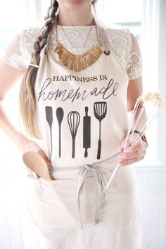 Apron, Happiness Is Homemade, present, housewarming gift, kitchen decor Wine Bistro, Baking Quotes, Pastel Kitchen, Kiss The Cook, Joy Of Cooking, Summer Kitchen, Cake Shop, Piece Of Cakes, Bakery