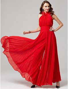 This dressy jumpsuit is a chic choice for your next night out! Cocktail and evening dresses are great, but there's something to be said about a gorgeous jumpsuit! This red style features pleats and a halter neckline.
