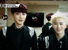 Chanyeol judging Suho (gif) #Embarassing parent Suho :P