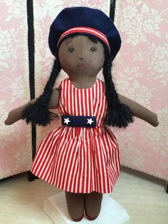 Black doll. Black rag doll. Afro doll. Cloth by ParisJavaDolls
