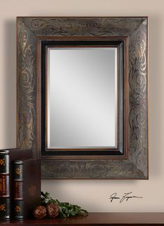 This mirror is rustic and ornate at the same time!  Great for over a guest room dresser or in a half bath.