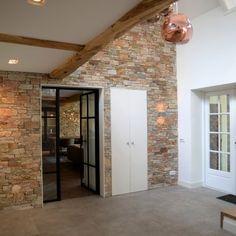 Boerderij met Steenpanelen Flagstone, Interior And Exterior, Loft, Windows, Modern, Furniture, Home Decor, Puzzle, Gardens